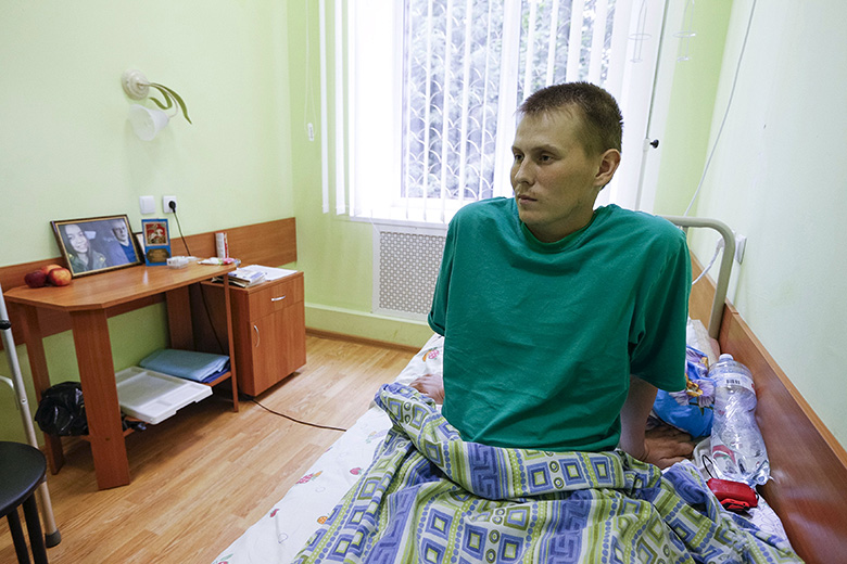 Thomson Reuters // A man, who according to Ukraine's state security service (SBU) is named Alexander Alexandrov and is one of two Russian servicemen recently detained by Ukrainian forces, during an interview with Reuters at a hospital in Kiev.