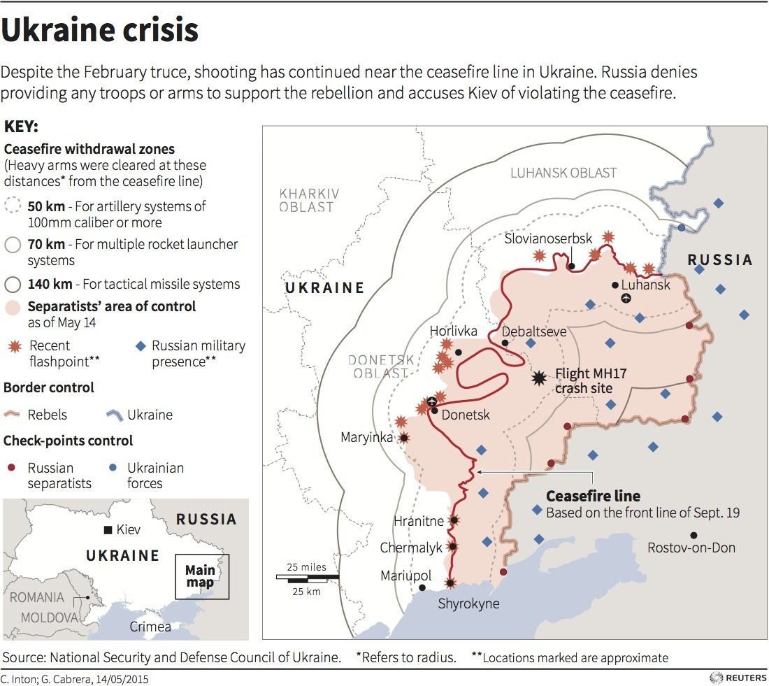 Reuters // Map of recent clashes between pro-Russian separatists and Ukrainian forces. Includes February's cease-fire line and cease-fire withdrawal zones.