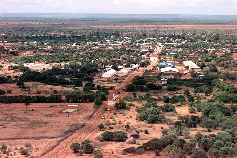 A1C Jeffery Allen/DefenseImagery.mil/Wikimedia Commons // an aerial view of the Somali village of Bardera.