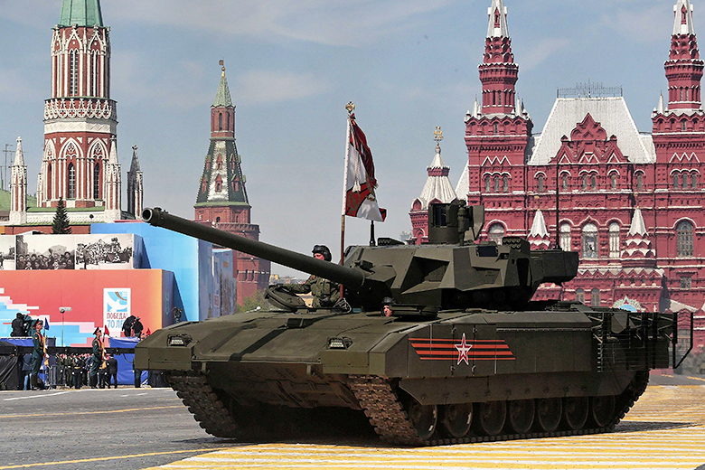 Ivan Sekretarev/AP // New Russian Armata tank is driven during the Victory Parade marking the 70th anniversary of the defeat of the Nazis in World War II, in Red Square, Moscow, Russia, Saturday, May 9, 2015.