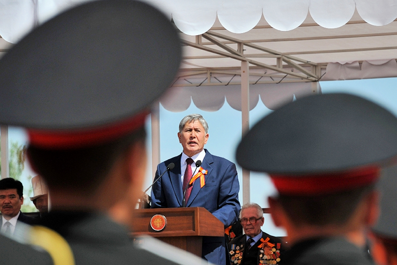 AFP Photo/Vyacheslav Oseledko // Kyrgyzstan's President Almazbek Atambayev gives a speech at the central Ala-Too Square in the Kyrgyzstan's capital Bishkek on May 4, 2015.