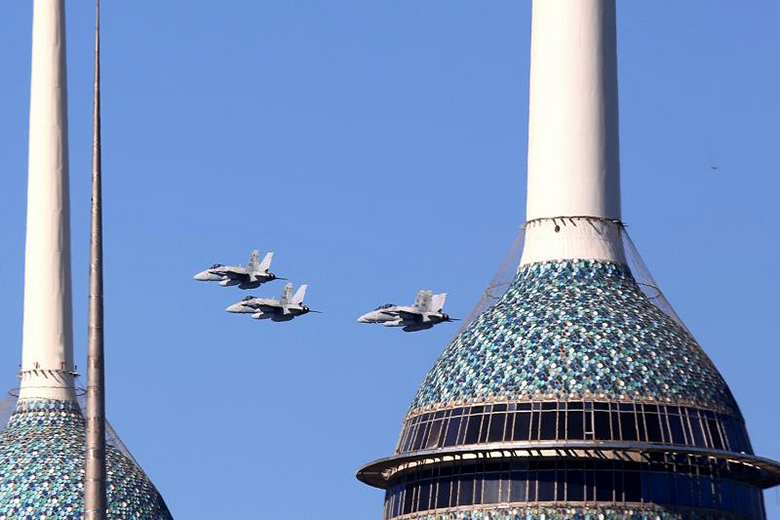 Yasser al-Zayyat/AFP/Getty Images // The Kuwaiti air force, which could become competitive with Israel in terms of aircraft because of arms deals with the United States, shows its skills in Kuwait City.