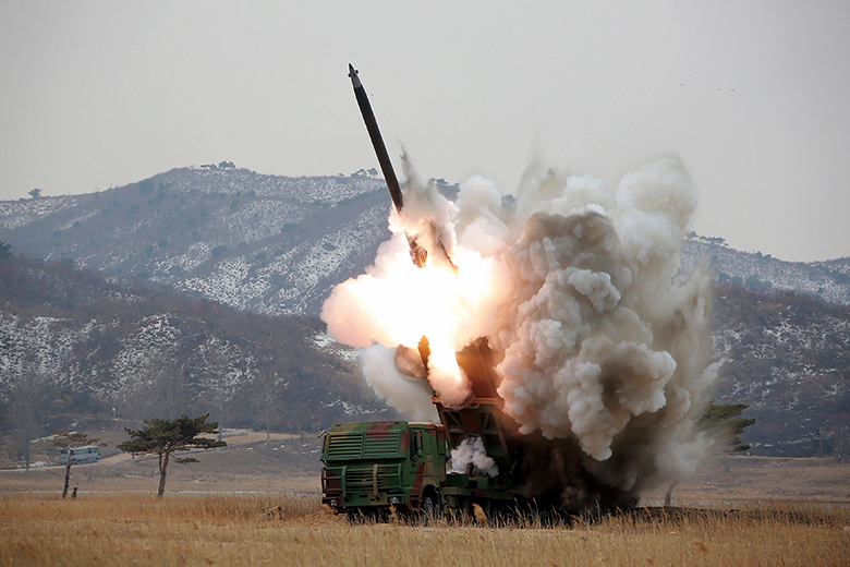 Reuters/KCNA // A new multiple launch rocket system is test fired in this undated photo released by North Korea's Korean Central News Agency (KCNA) in Pyongyang March 4, 2016.