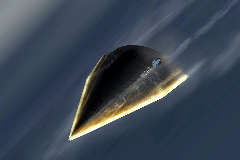 DARPA // An artist's illustration of DARPA's Hypersonic Technology Vehicle 2 (HTV-2) travelling at 13,000 mph, or Mach 20, during its Aug. 11, 2011 test flight.